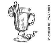 mulled wine engraving raster... | Shutterstock . vector #742875895