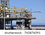 oil platform out of order. oil... | Shutterstock . vector #742876591