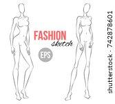 women's figure sketch....   Shutterstock .eps vector #742878601