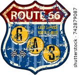 retro route sixty six gas... | Shutterstock .eps vector #742879087