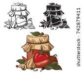 jar of home made tomato paste...   Shutterstock .eps vector #742879411
