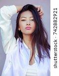 closeup portrait of attractive... | Shutterstock . vector #742882921