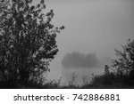 black and white misty autumn...   Shutterstock . vector #742886881