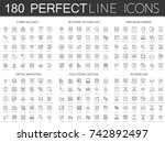 180 modern thin line icons set... | Shutterstock .eps vector #742892497