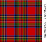 scottish plaid in classic... | Shutterstock .eps vector #742895284