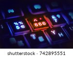 three sixes  the number of the... | Shutterstock . vector #742895551