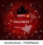 happy halloween. vector card.   Shutterstock .eps vector #742896664