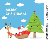christmas greeting card. flat... | Shutterstock .eps vector #742898344