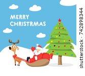 christmas greeting card. flat... | Shutterstock .eps vector #742898344