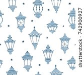 blue hand drawn lanterns and... | Shutterstock .eps vector #742900927