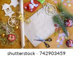 christmas cards  gift wrap ... | Shutterstock . vector #742903459