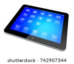 tablet pc computer with apps on ... | Shutterstock . vector #742907344
