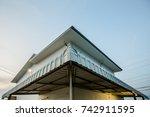 worm eyes view of corner of... | Shutterstock . vector #742911595