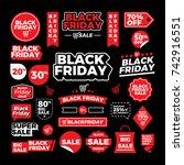 black friday badge label vector ... | Shutterstock .eps vector #742916551
