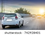 car on high way road car on the ... | Shutterstock . vector #742928401
