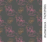 seamless pattern with hand... | Shutterstock . vector #742929301