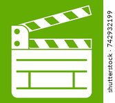 clapperboard icon white... | Shutterstock .eps vector #742932199