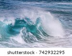 turquoise wave is illuminated... | Shutterstock . vector #742932295