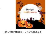 cute halloween background with... | Shutterstock .eps vector #742936615
