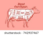 cow  beef  meat cuts. scheme or ... | Shutterstock .eps vector #742937467