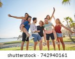 group of friends having fun...   Shutterstock . vector #742940161