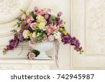 chic decorated bouquet in a... | Shutterstock . vector #742945987