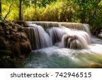 tat kuang si waterfalls  these... | Shutterstock . vector #742946515