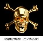 golden skull with crossbones or ... | Shutterstock . vector #742950004