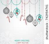 christmas greeting card. merry... | Shutterstock .eps vector #742954741