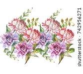 flowers border.watercolor | Shutterstock . vector #742956271