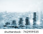 double exposure of city and... | Shutterstock . vector #742959535