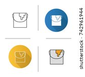 paint bucket icon. flat design  ... | Shutterstock . vector #742961944