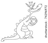 Outlined Dragon Holding An...