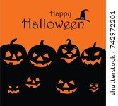 happy halloween cute poster... | Shutterstock .eps vector #742972201