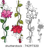 set of decorative roses | Shutterstock .eps vector #74297320