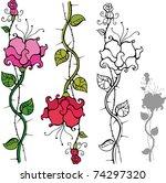 set of decorative roses | Shutterstock .eps vector #74297320