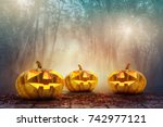 halloween pumpkin head in... | Shutterstock . vector #742977121