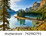 Small photo of Beautiful Spirit Island in Maligne Lake, Jasper National Park, Alberta, Canada