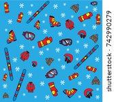 ski equipment seamless pattern | Shutterstock .eps vector #742990279