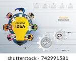 business meeting and...   Shutterstock .eps vector #742991581