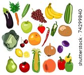 fruit and vegetable set 01 | Shutterstock . vector #74299840