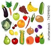 fruit and vegetable set 01 | Shutterstock . vector #74299840