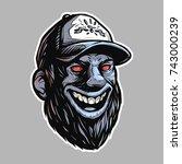 bearded rednecks head with red... | Shutterstock .eps vector #743000239
