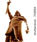 Small photo of King Alfred the Great statue Winchester England sepia monochrome