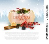 christmas background with... | Shutterstock .eps vector #743008381