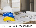 white  yellow and blue safety...   Shutterstock . vector #743009095