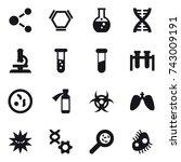 16 vector icon set   molecule ...   Shutterstock .eps vector #743009191