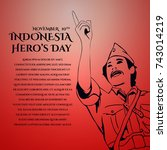 indonesia hero's day greeting... | Shutterstock .eps vector #743014219