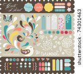 sweet decorative sticker set... | Shutterstock .eps vector #74301463