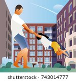father and daughter | Shutterstock .eps vector #743014777